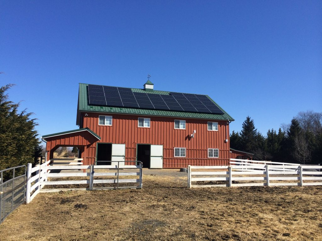 image of solar panels installed on barn roof by prospect solar